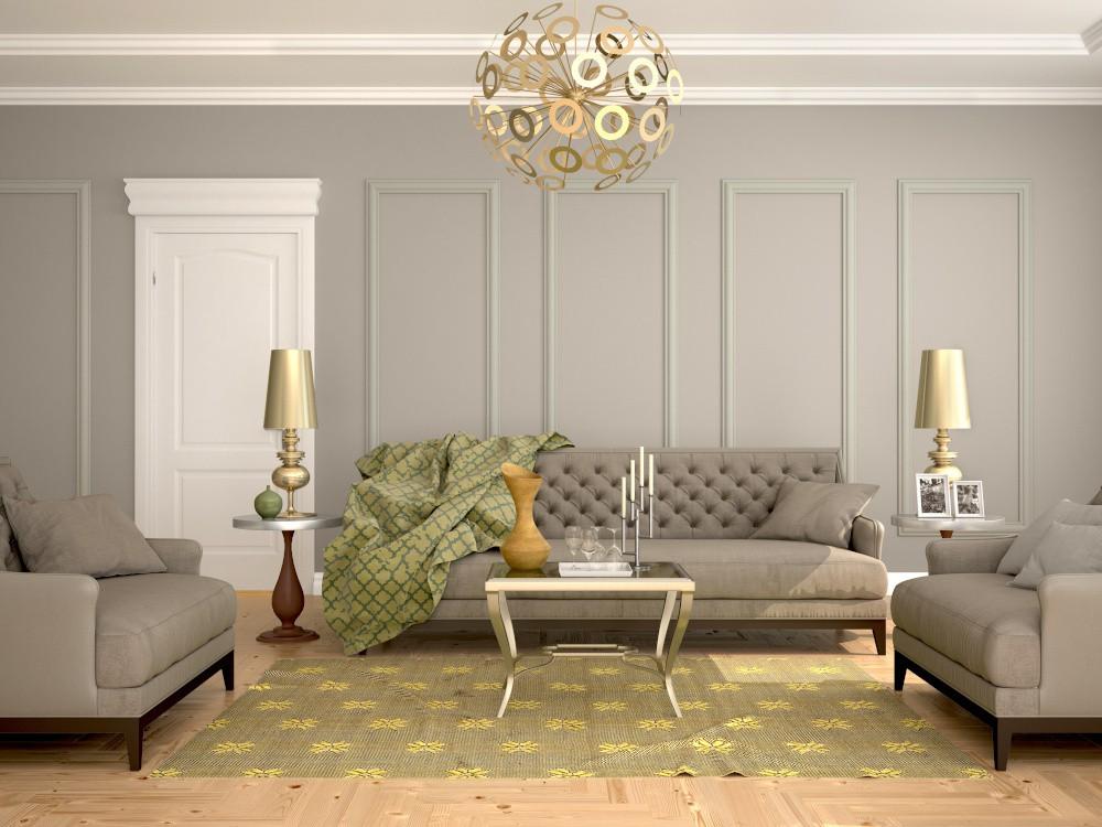 salon urzadzony w stylu klasycznym